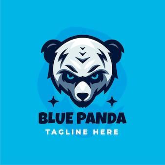 Blauwe panda logo ontwerpsjabloon