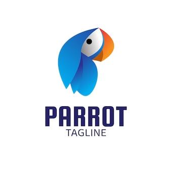 Blauwe papegaai ontwerpsjabloon logo