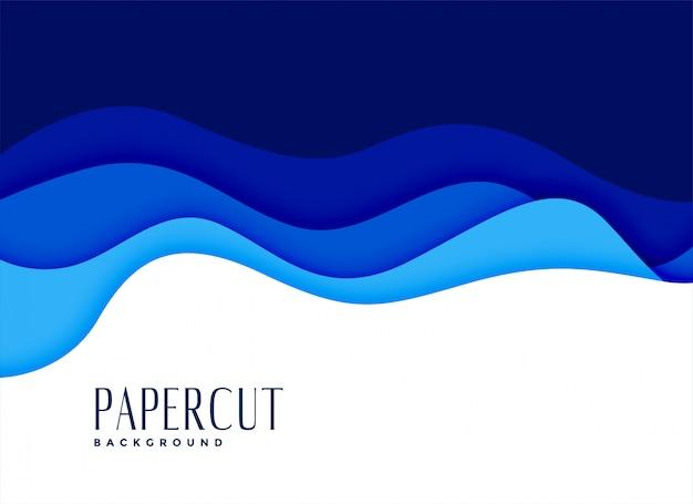 Blauwe papercut golvende water stijl achtergrond