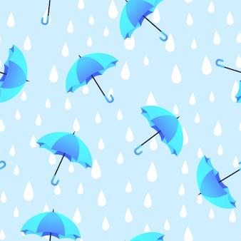 Blauwe paraplu en regen doodles hand getrokken naadloze patroon.