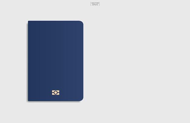 Blauwe paspoortachtergrond op witte achtergrond. vector illustratie.