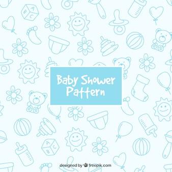 Blauwe patroon met baby elementen
