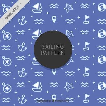 Blauwe patroon met witte sailor tekeningen