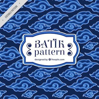 Blauwe patroon van abstracte vormen batik