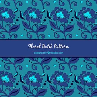Blauwe patroon van batik bloemen