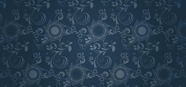 Blauwe patroonbanner in een gotische stijl