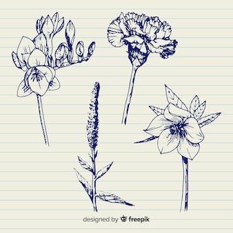 Blauwe pen hand getrokken botanische bloemen
