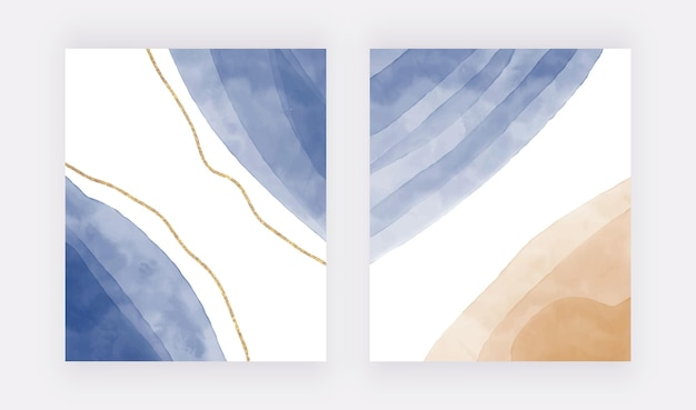 Blauwe penseelstreek aquarel achtergronden met gouden glittervormen