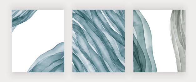 Blauwe penseelstreek aquarel lijnen
