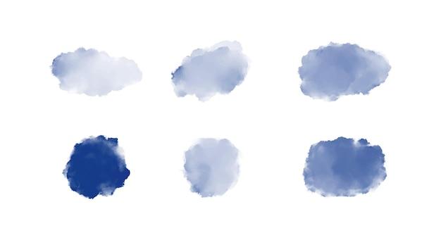Blauwe penseelstreek aquarelvormen instellen