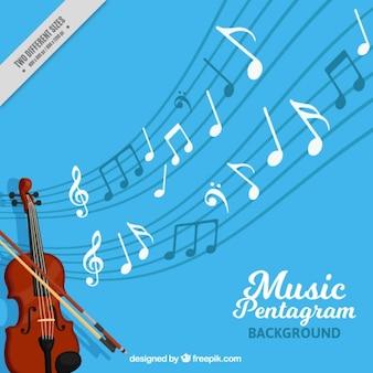Blauwe pentagram achtergrond met viool