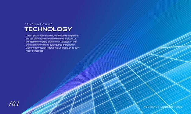 Blauwe perspectief digitale technologie achtergrond