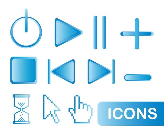 Blauwe pictogrammen web geïsoleerd over witte achtergrond vector