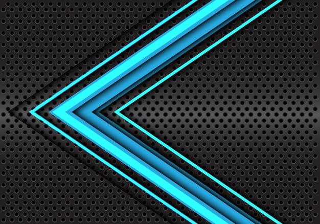 Blauwe pijl 3d-richting donker grijze cirkel mesh achtergrond.