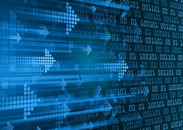 Blauwe pijl cyber circuit toekomstige technologie concept achtergrond
