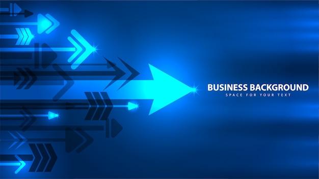 Blauwe pijl en zakelijke technologie abstracte achtergrond