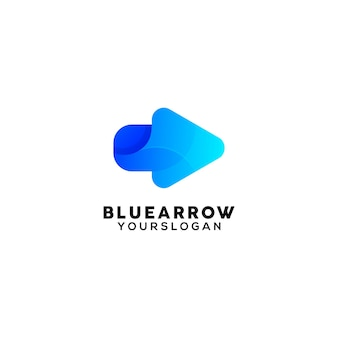 Blauwe pijl kleurrijke logo ontwerpsjabloon