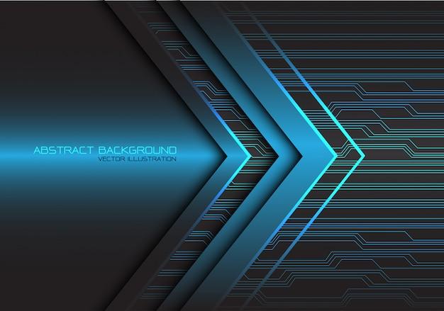 Blauwe pijl licht circuit technologie achtergrond.