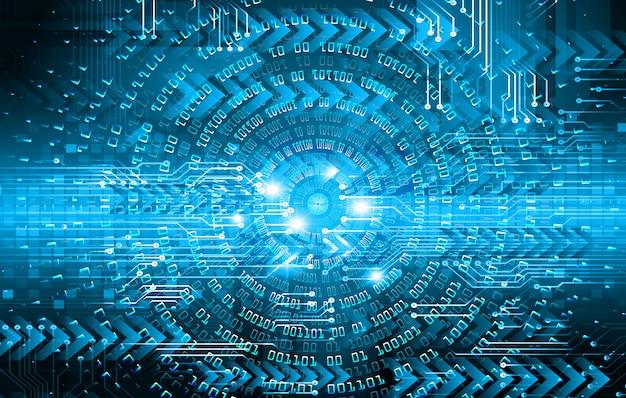 Blauwe pijl oog cyber circuit toekomstige technologie concept achtergrond