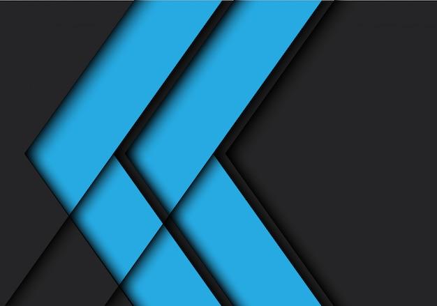 Blauwe pijl schaduw lijn op zwarte achtergrond.