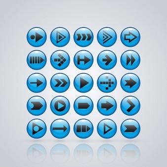 Blauwe pijlen knoppen collectie