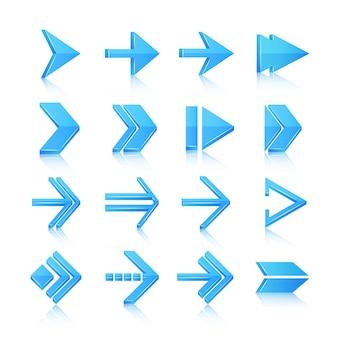 Blauwe pijlen symbolen pictogrammen iconen, set geïsoleerde vector illustratie