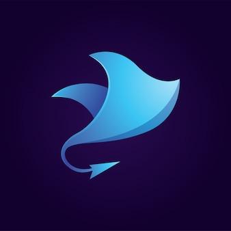 Blauwe pijlstaartrog logo
