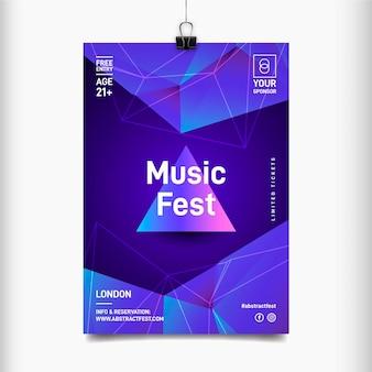Blauwe piramide muziekfestival poster sjabloon