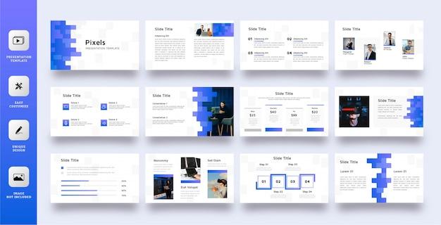 Blauwe pixels multifunctionele presentatiesjabloon