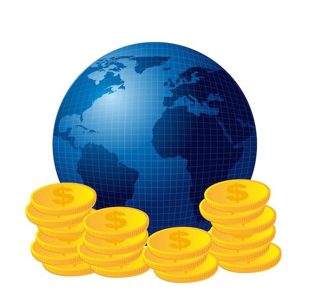 Blauwe planeet over munten geïsoleerd over witte achtergrond vector