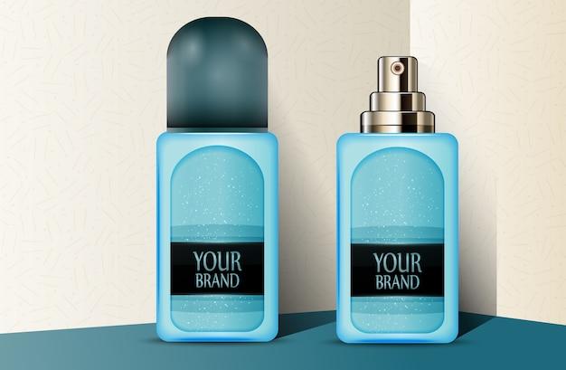 Blauwe plastic parfumflesjes