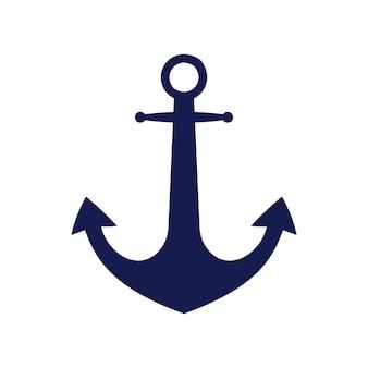 Blauwe platte anker logo geïsoleerd op een witte achtergrond. silhouet uitrusting van zeeschepen. vector reizen en toerisme icoon.