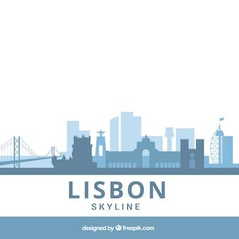 Blauwe platte skyline van lissabon