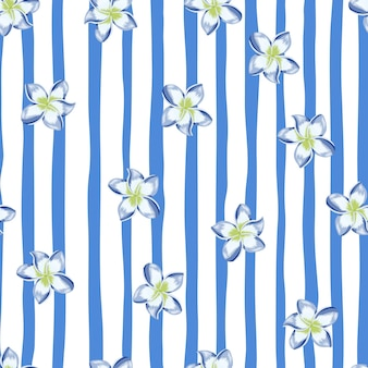 Blauwe plumeria naadloze bloemenpatroon op streep achtergrond. exotisch tropisch behang. abstracte botanische achtergrond. ontwerp voor stof, textielprint, verpakking, omslag. vector illustratie.