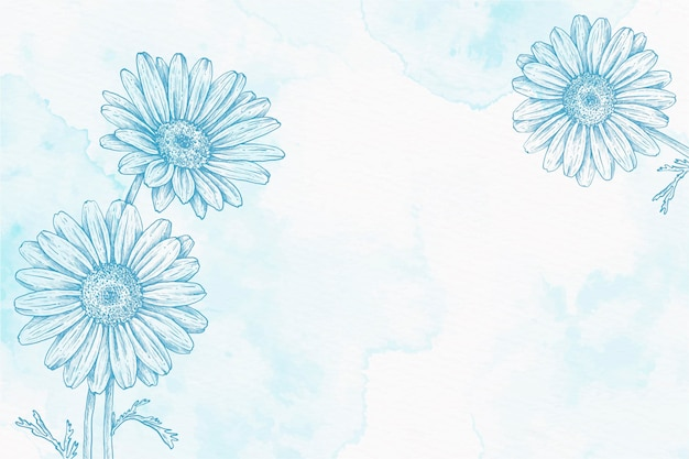 Blauwe poeder pastel hand getekende achtergrond