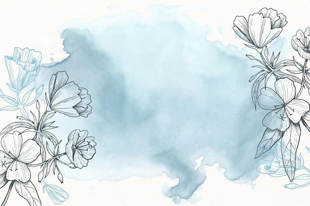 Blauwe poeder pastel met hand getrokken bloemen achtergrond
