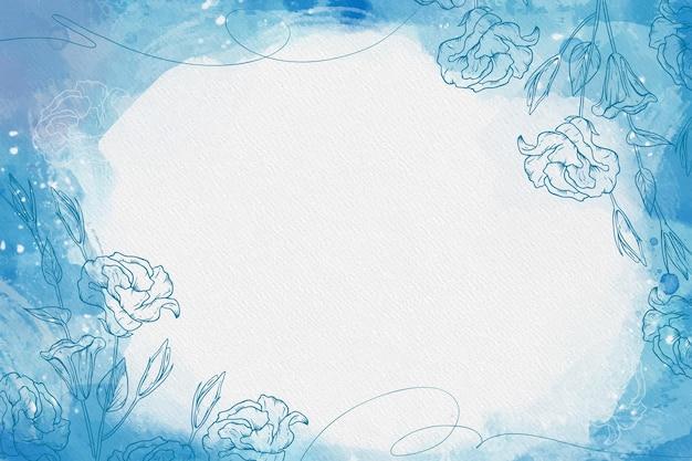Blauwe poeder pastel met handgetekende elementen
