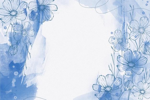 Blauwe poeder pastel met handgetekende planten