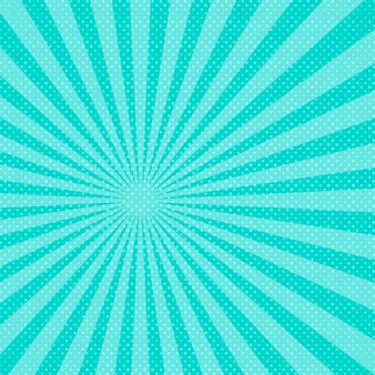 Blauwe pop-art zonnestralen achtergrond. illustratie.