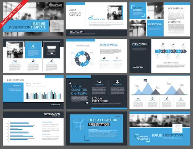 Blauwe presentatiesjablonen en infographics elementen achtergrond.
