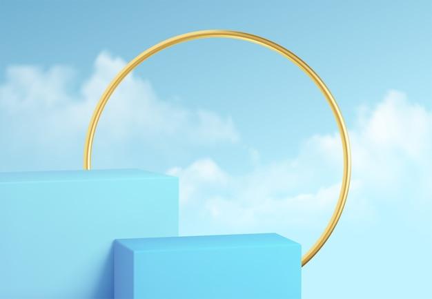 Blauwe productpodiumshowcase op de achtergrond van heldere hemel met wolken en gouden decoratie. podium