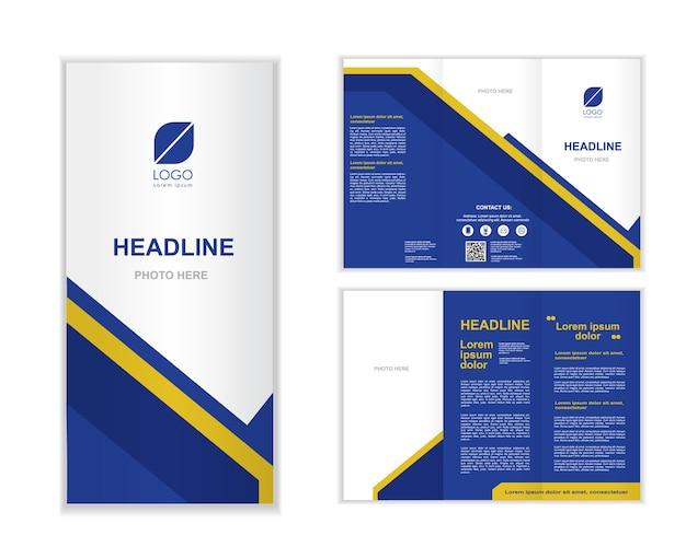 Blauwe professional zakelijke drievoudige brochure sjabloon