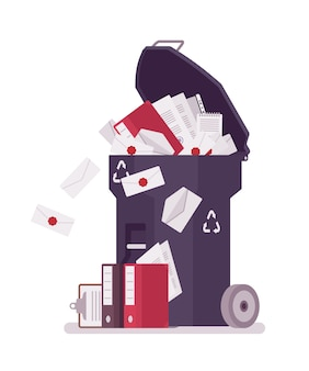 Blauwe prullenbak met papier en documentatie
