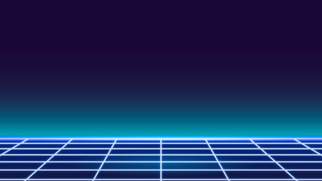 Blauwe raster neon patroon achtergrond vector