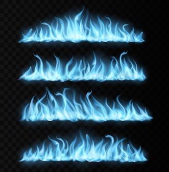 Blauwe realistische gasvuurpaden, lange brandende tongen