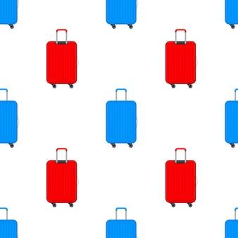 Blauwe reis plastic koffer met wielen realistisch patroon op witte achtergrond. vector voorraad illustratie.