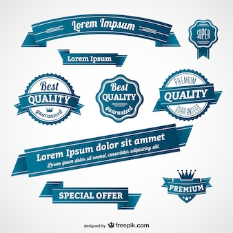 Blauwe retro badges en banners