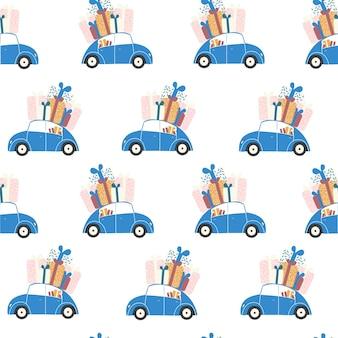 Blauwe retro geschenkdozen voor autobezorging. naadloos patroon