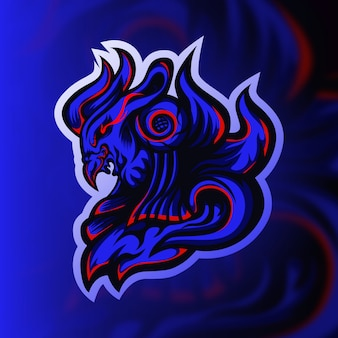 Blauwe ridder vogel gaming mascotte logo
