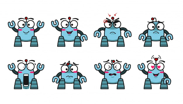 Blauwe robot karakter mascotte schattige emoji emotie expressie collectie set